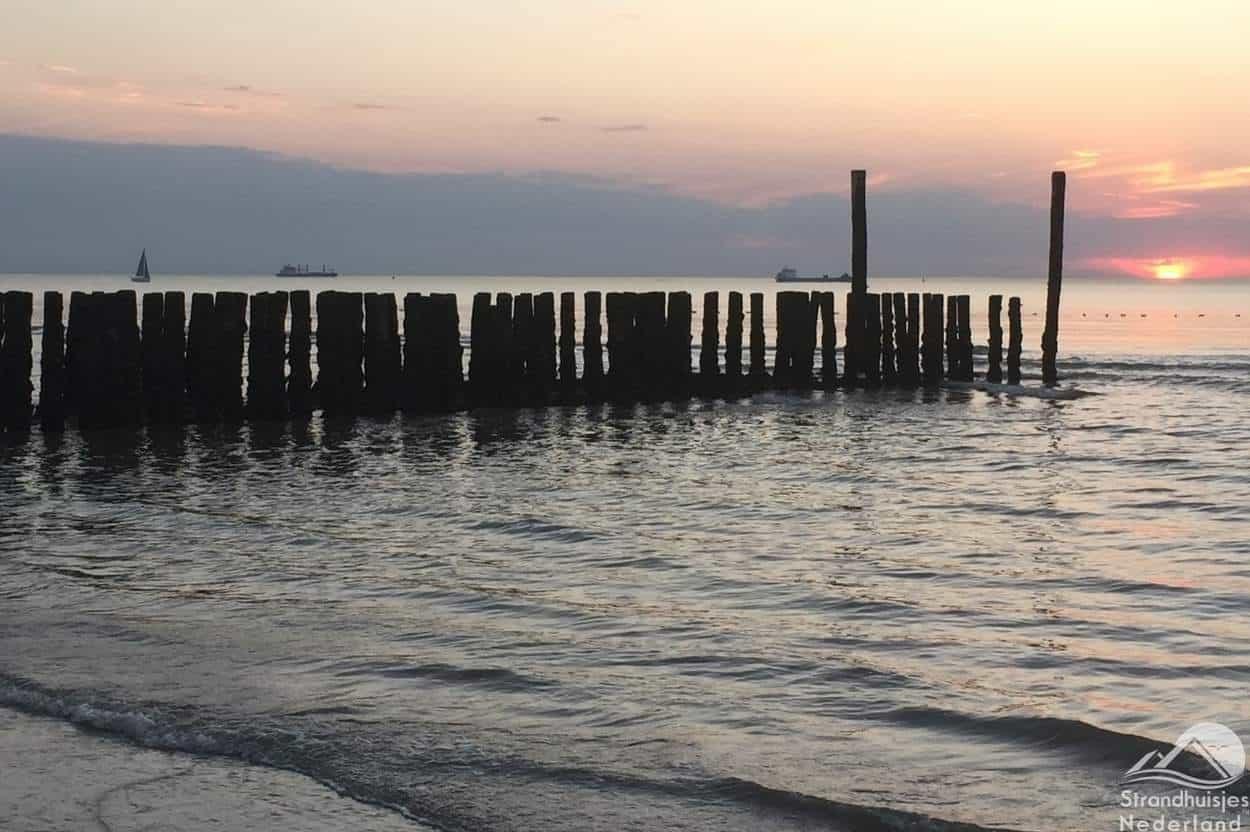 Paalhoofden-bij-zonsondergang-zee-Nieuwvliet