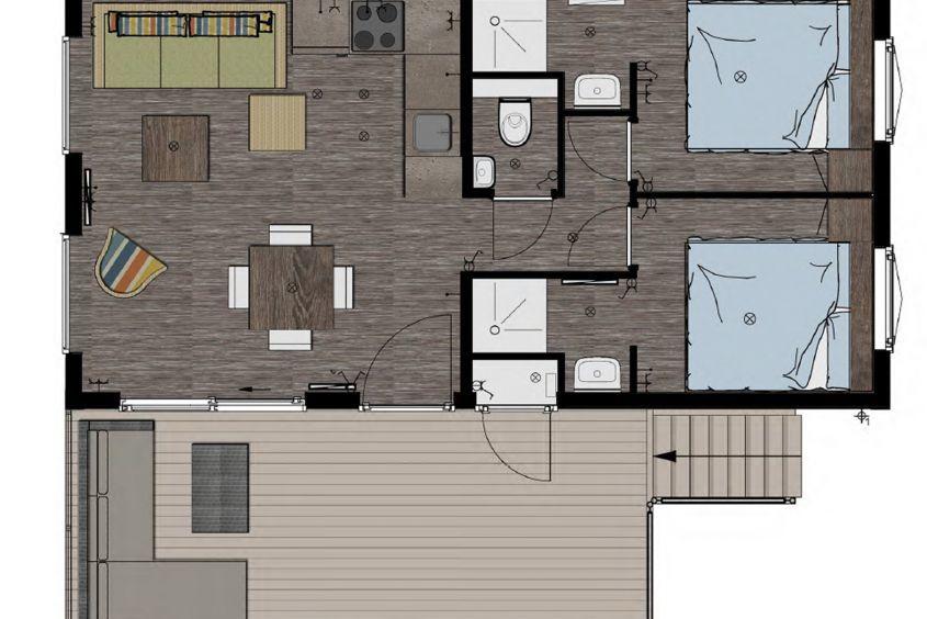 Karte Strandhaus Kamperland Zeeland 2 bis 4 Personen