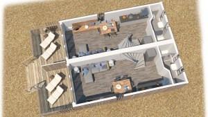 Plattegrond strandhuisje Hoek van Holland, boven
